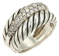 David Yurman David Yurman Diamonds Sterling Silver Double Band Ring -size