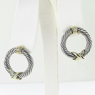 David Yurman David Yurman Earrings X-hoop Cable 14k Yellow Gold Sterling Silver Estate