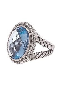 David Yurman David Yurman Sterling Silver Blue Topaz Diamond Signature Oval Ring Size 7.5