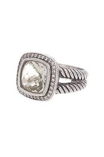 David Yurman David Yurman Sterling Silver 11mm Prasiolite Diamond Albion Ring Size 8
