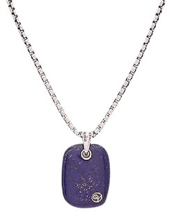 David Yurman David Yurman Sterling Silver Lapis Exotic Stone Tablet Necklace
