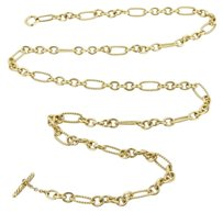 David Yurman David Yurman 18k Yellow Gold Long Oval Link Cable Wire Chain Necklace 32
