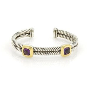 David Yurman David Yurman 925 Silver 18k Yellow Gold Amethyst Double Band Cuff Bracelet