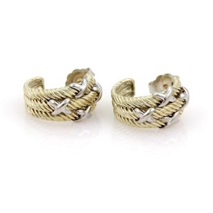 David Yurman David Yurman 14k Yellow Gold Silver Stars Cable 12mm Semi Hoop Earrings