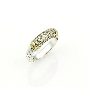 David Yurman David Yurman Sterling Silver 18k Gold Diamond Metro Ring