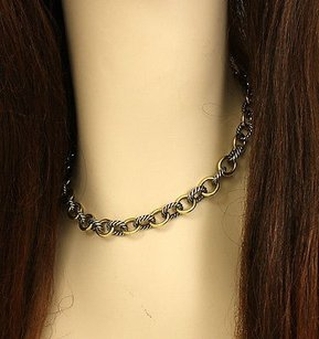 David Yurman David Yurman Sterling Silver 18k Yellow Gold Cable Wire Oval Chain Necklace