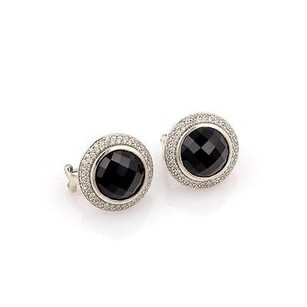 David Yurman David Yurman Sterling Silver Pave Diamond Onyx Circular Earrings