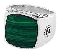 David Yurman Mens Exotic Stone Signet Ring with Malachite