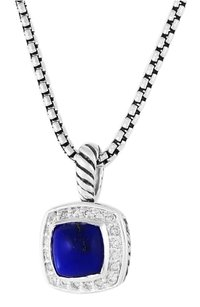 David Yurman Petite Albion Pendant with Lapis Lazuli and Diamonds on Chain