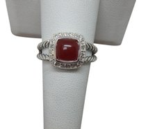 David Yurman Petite Albion Ring with Carnelian and Diamonds size 8 w/ pouch