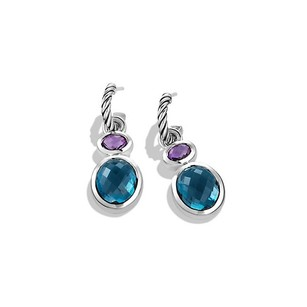 David Yurman Renaissance Drop Earrings with Blue Topaz and Amethyst