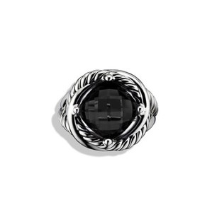 David Yurman DAVID YURMAN Sterling Silver Black Onyx 11mm Infinity Ring, size 6.75