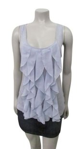 Deletta By Anthropologie Sheer Panels Front Chiffon Top Gray