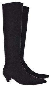 Delman Womens Charcoal Knee High Textile Heels Casual Gray Boots