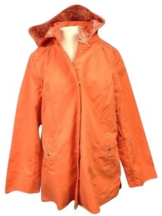 Dennis Basso Poly Lined Button Front Hooded Rain Sma11420 Raincoat