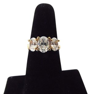 Diamonique Diamonique 3 Stone 14k Yellow Gold Ring Size 7