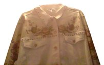 Diane Gilman Embelishished Vintage white with gold embrossing Womens Jean Jacket