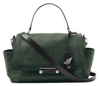 Diane von Furstenberg Classic Flap Detachable Satchel in Green, Black
