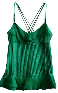 Diane von Furstenberg Cross-over Ruffled Silk Top Green