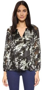 Diane von Furstenberg Marnie Green Silk Top Black