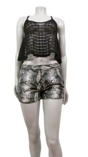 Diane von Furstenberg Saks Fifth Ave Faux Leather Python Print Mini/Short Shorts gray black