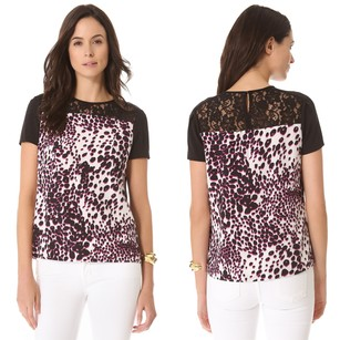 Diane von Furstenberg Leopard Lace Animal Print Silk Keyhole Top Purple, Black, White
