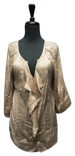 Diane von Furstenberg Silk Sleeves V Neck 5319 A Top Tan