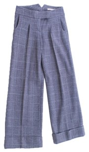Diane von Furstenberg Wool Cuffed Classic Chevron Buckle Slacks Trouser Pants Gray