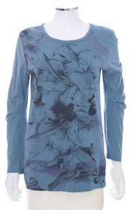 Diesel Cotton Feathered Floral Black Gold Printed Longsleeve Designer Casual T Shirt Blue