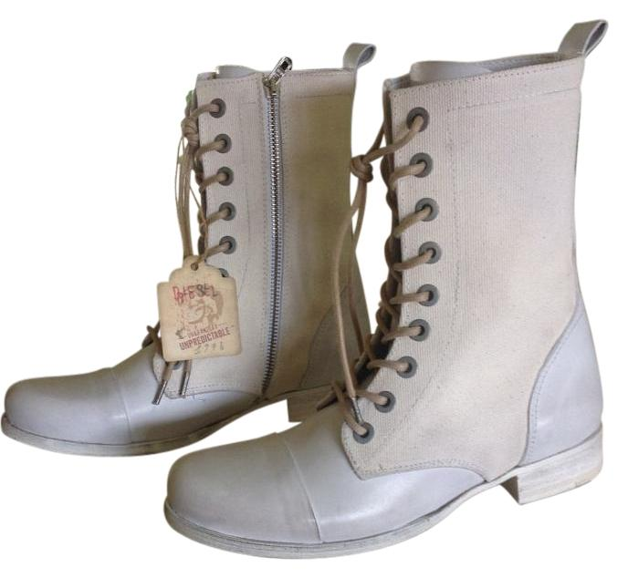 diesel combat leather canvas side zip white boots on sale