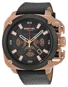 Diesel DZ7346 BAMF ROSE GOLD BLACK LEATHER MULTI-FUNCTION MEN'S WATCH