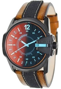 Diesel DZ1600 Quartz Master Chief Brown & Black Leather Band Men's watch
