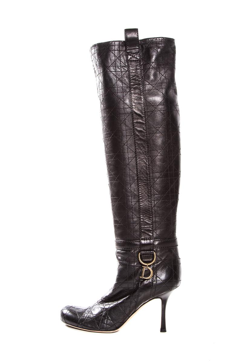 Dior Black Cannage Leather Round Toe Knee High (Approx. Boots/Booties Size EU 38 (Approx. High US 8) Regular (M, B) acdfcc