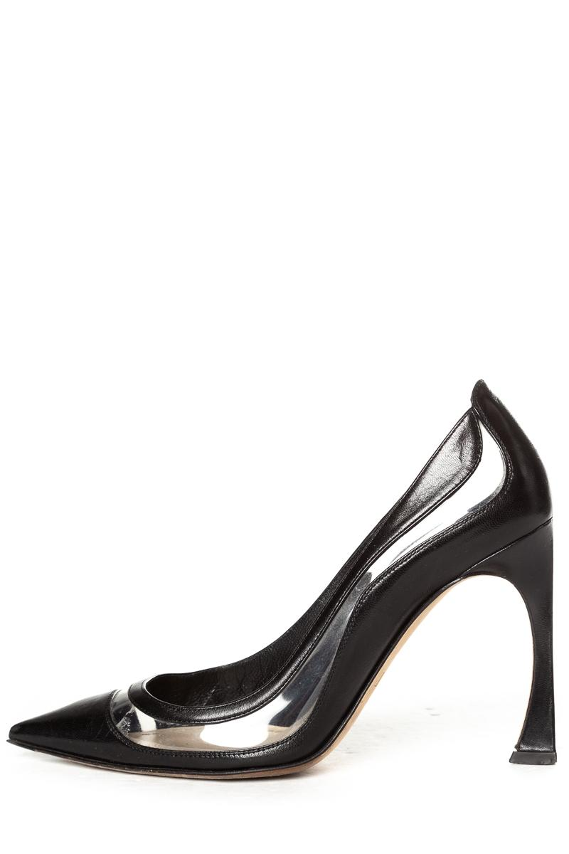 Dior Black Christian Leather & Clear Songe Pumps Size EU 37.5 (Approx. US 7.5) Regular (M, B)