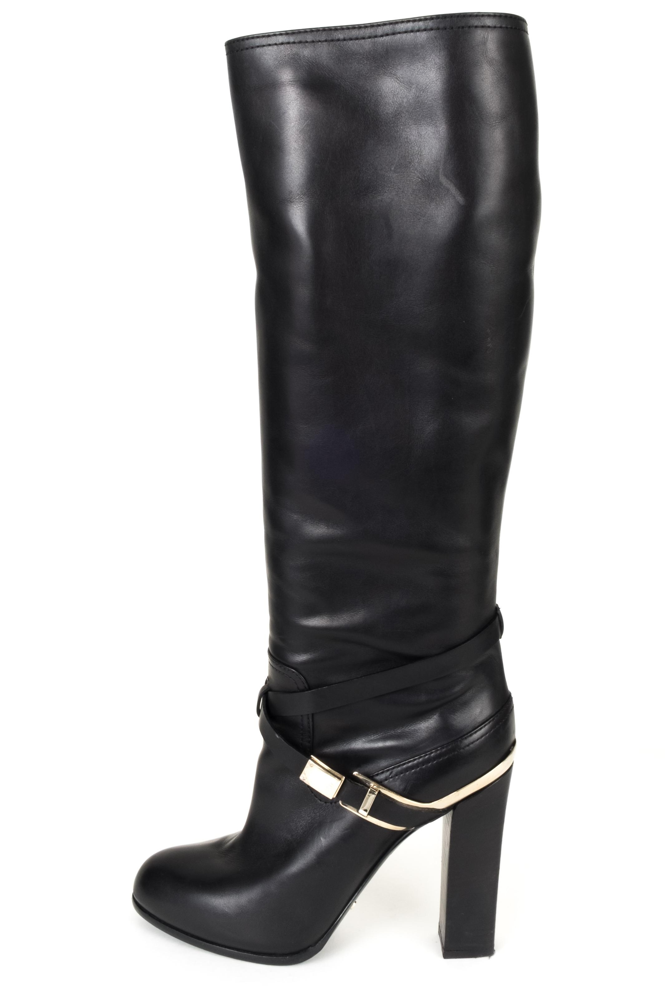 207d2422aace Dior Dior Dior Black Christian Leather Tall Boots Booties Size EU 41  (Approx.