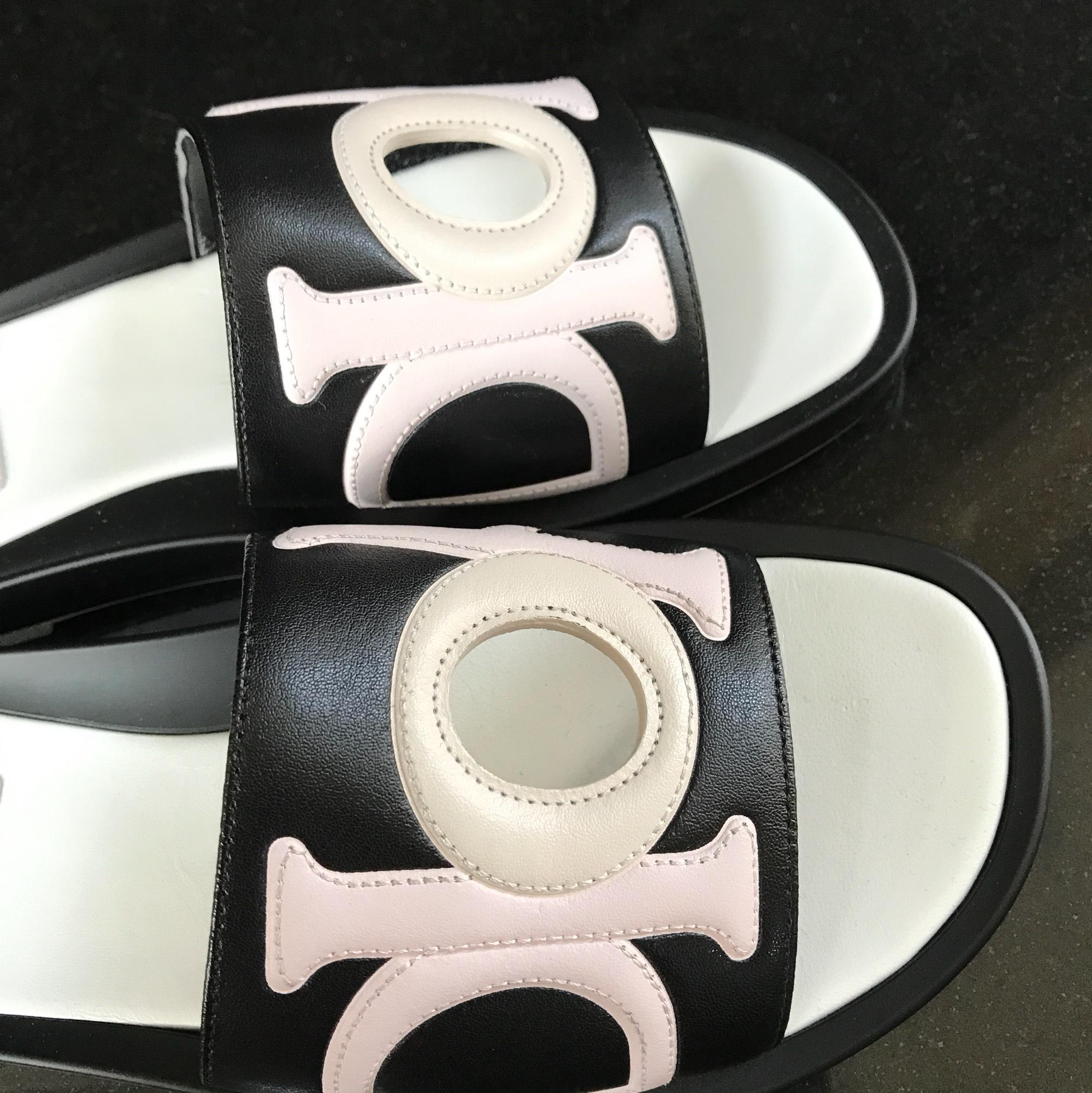 f8b9dfefc15e ... Dior Black Marina Slides Mules White Pink Pink Pink Logo Sandals Size  EU 37 (Approx ...