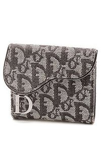 Dior Christian Dior Black Diorissimo Canvas Compact Saddle Wallet