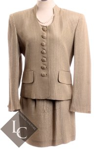 Dior CHRISTIAN DIOR LIGHT GREEN WITH GOLD HOUNDSTOOTH PRINTSKIRT 2 PIECE SUIT SZ 4