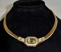 Dior Christian Dior Vintage Gold Tone Structured Necklace W Green Stone