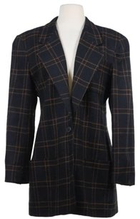 Dior Christian Dior Womens Black Brown Blazer Wool Jacket