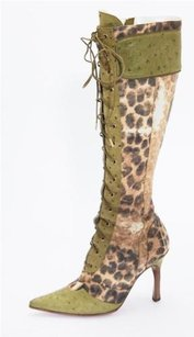 Dior Christian Womens Green Multi-Color Boots