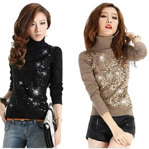 Dior Jeweled Sparkle Shimmer Cardigan Neck Cowl Neck Cable Knit Cashmere Cotton Blouse Dressy Casual Ribbed Chanel Gucci Les Sweater