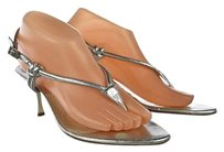 Dior Christian Womens Thong Metallic Heels Silver Sandals
