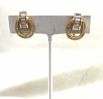 Dior Vintage Christian Dior Earrings Gold Tone Metal Rhinestone Baguettes Lever Back