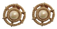 Dior Vintage Rope Twist Gold Plated Pearl Cabochon Clip Earrings SIGNED --Superb