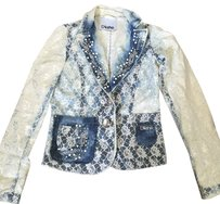 dishe blue white Womens Jean Jacket