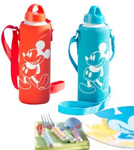 Disney Store- RED Mickey Aluminum Water Bottle with Neoprene Cover -24 oz-NEW
