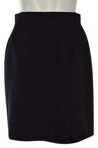 DKNY Petite Womens A Line 4p Wool Above Knee Solid Casual Skirt Black