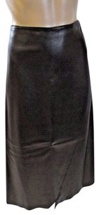 DKNY Black Label Leather Midi With Asymmetrical Hem Skirt Brown