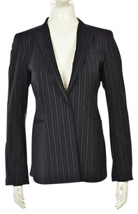 DKNY Dkny Womens Navy Pinstriped Blazer Wool Long Sleeve Career Jacket